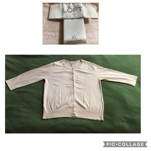 Loft pale peach 3/4 sleeve cardigan XL